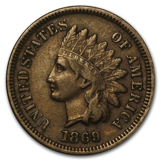 1869 Indian Head Cent VF