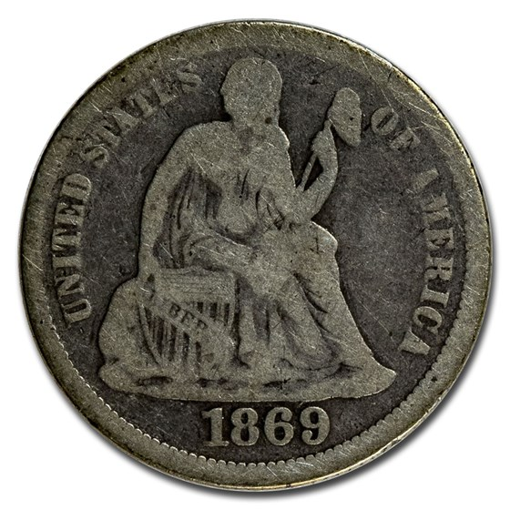 1869 Liberty Seated Dime Good