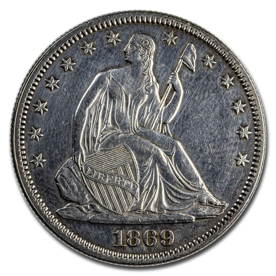1869 Liberty Seated Half Dollar AU (Details)