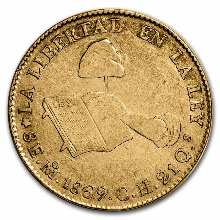 1869 Mo CH Mexico Gold First Republic 8 Escudos XF