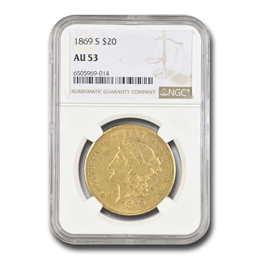 1869-S $20 Liberty Gold Double Eagle AU-53 NGC