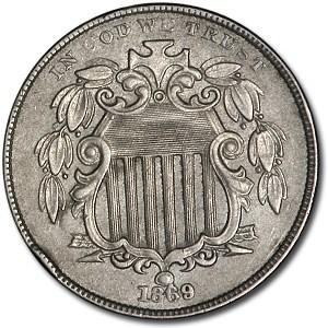 1869 Shield Nickel AU-58 Details