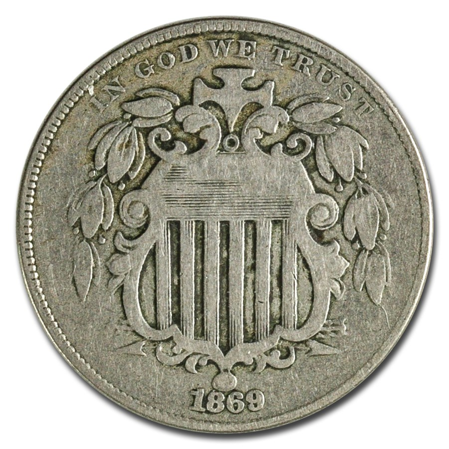 1869 Shield Nickel Fine