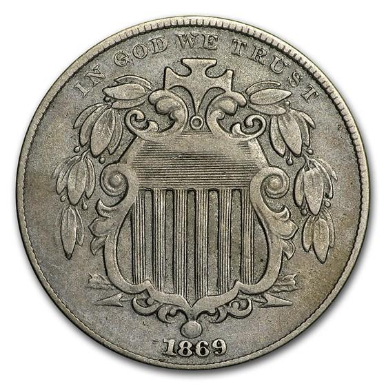 1869 Shield Nickel VF