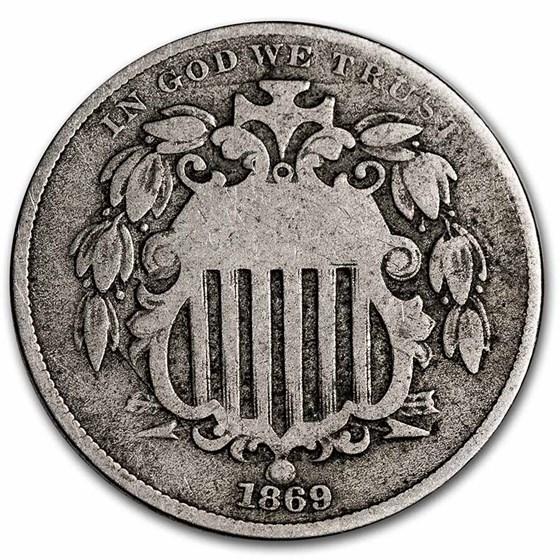 1869 Shield Nickel VG