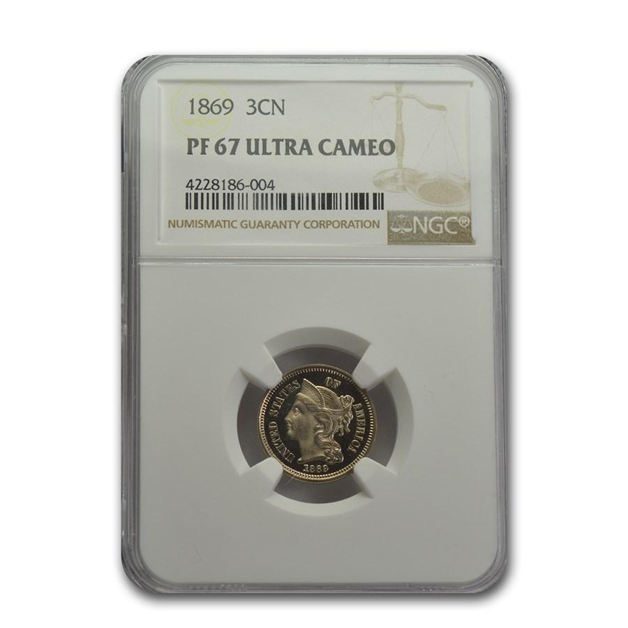 1869 Three Cent Nickel PR-67 UCAM NGC
