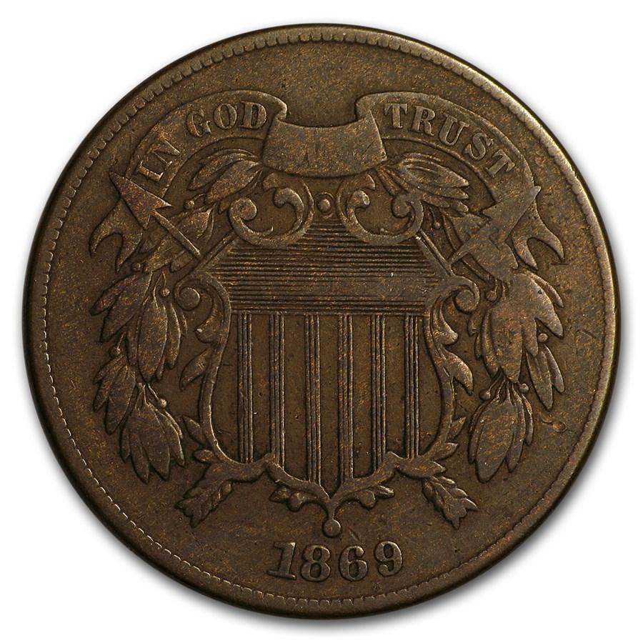 1869 Two Cent Piece Fine
