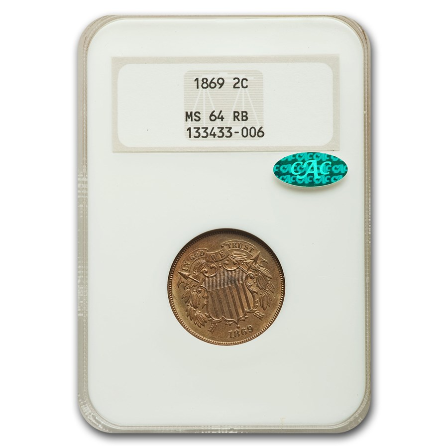 1869 Two Cent Piece MS-64 NGC CAC (Red/Brown)