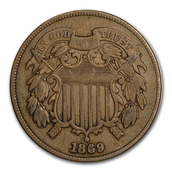 1869 Two Cent Piece VF