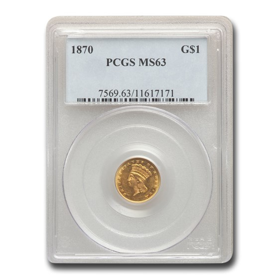 1870 $1 Indian Head Gold MS-63 PCGS