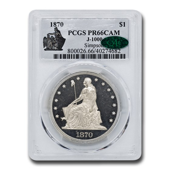1870 $1 Pattern Dollar PR-66 Cameo PCGS CAC (J-1000)