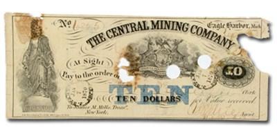 1870 $10.00 The Central Mining Co., Eagle Harbor MI VF