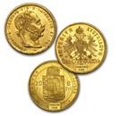1870-1892 Hungary Gold 8 Forint/20 Franc Avg Circ (Random)