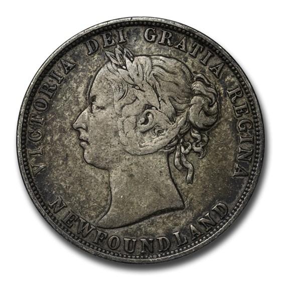 1870-1900 Newfoundland Silver 50 Cents Victoria Avg Circ