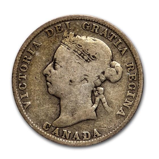1870-1901 Canada Silver 25 Cents Victoria Avg Circ