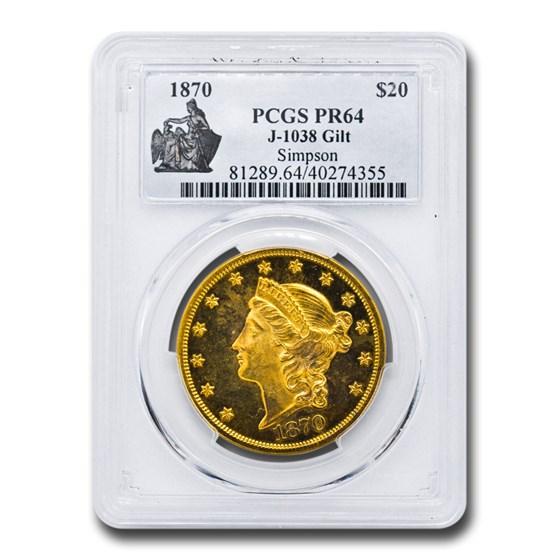 1870 $20 Liberty Double Eagle PR-64 PCGS (J-1038 GILT)