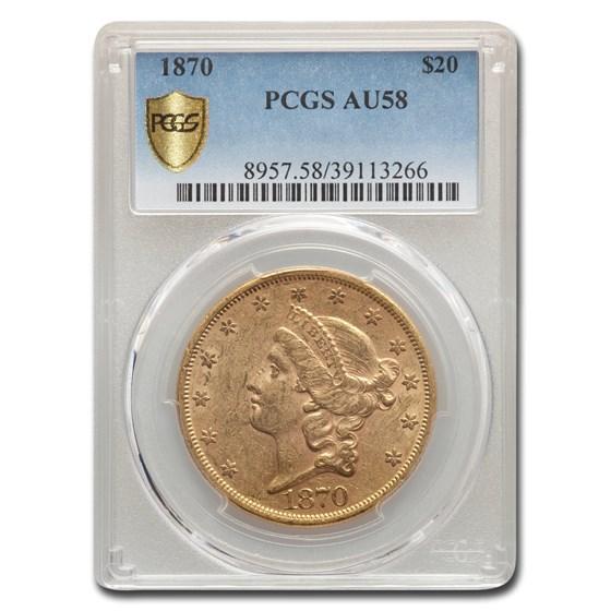 1870 $20 Liberty Gold Double Eagle AU-58 PCGS