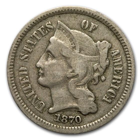 1870 3 Cent Nickel Fine