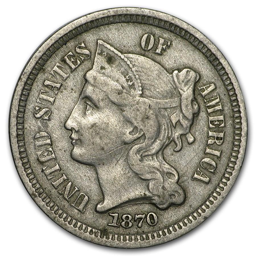 1870 3 Cent Nickel VF