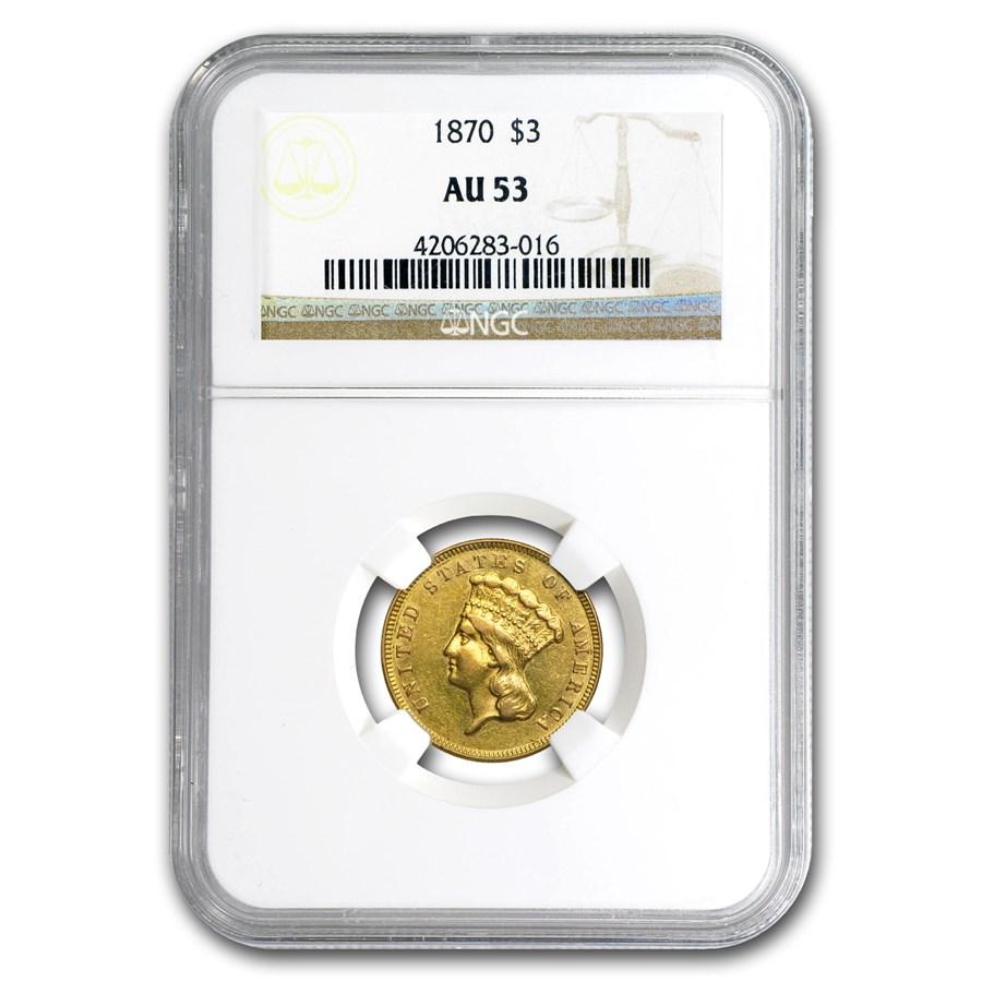 1870 $3 Gold Princess AU-53 NGC
