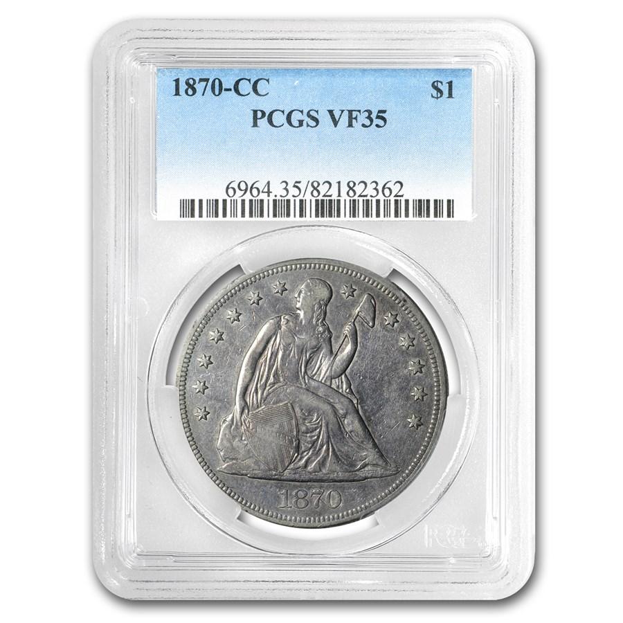 1870-CC Liberty Seated Dollar VF-35 PCGS