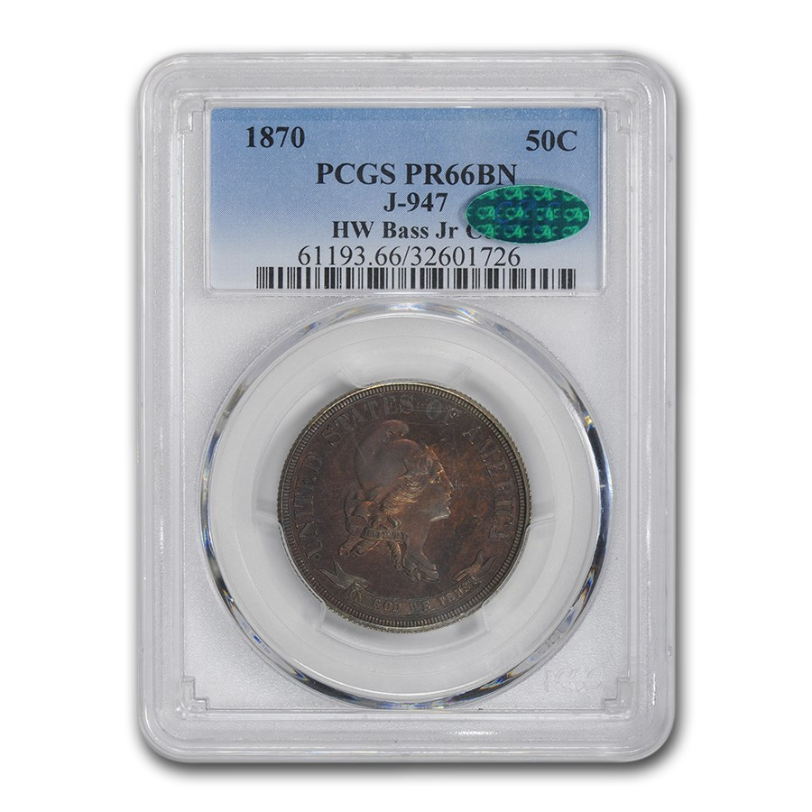 1870 Half Dollar Pattern PR-66 PCGS CAC (J-947, Brown)