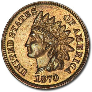1870 Indian Head Cent AU-53 Details