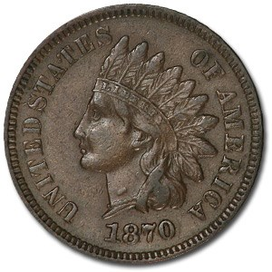 1870 Indian Head Cent AU
