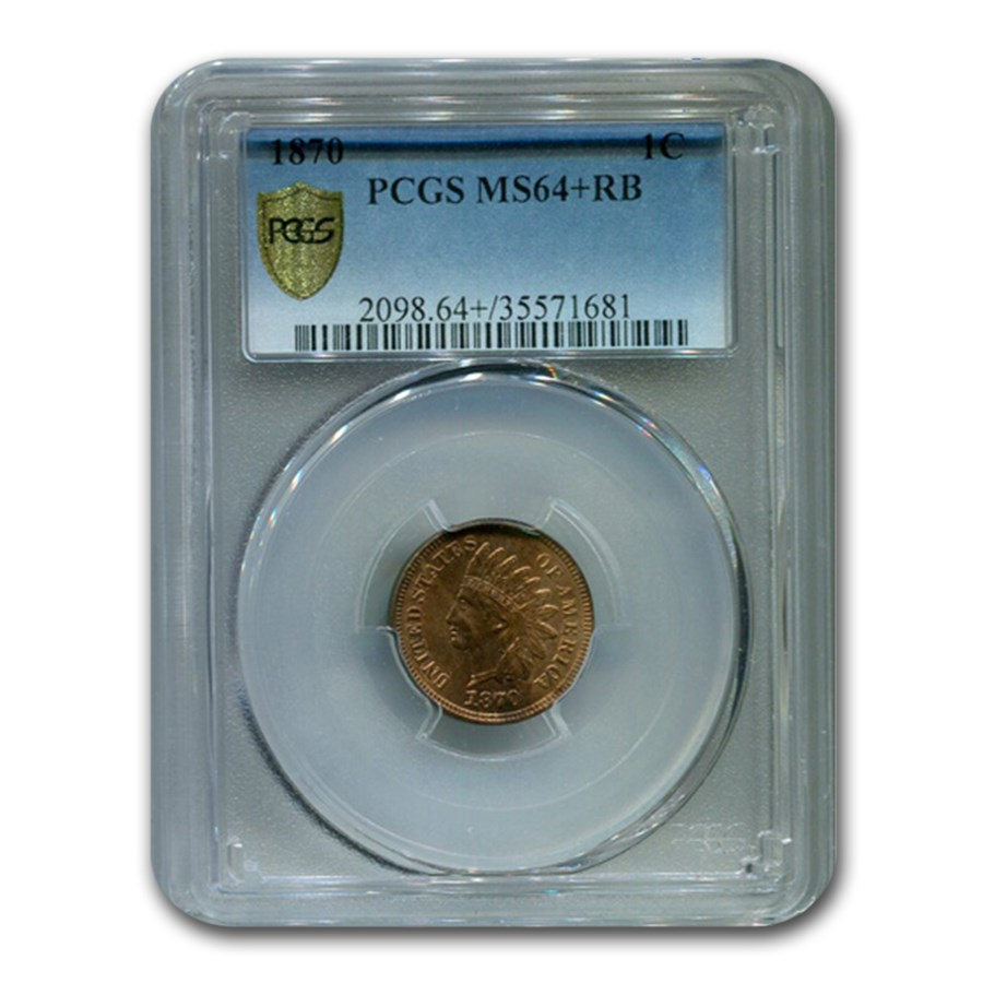 1870 Indian Head Cent MS-64+ PCGS (Red/Brown)