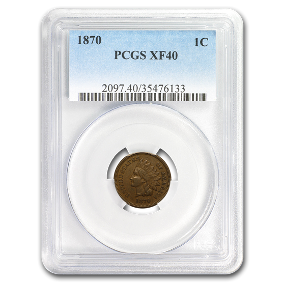 1870 Indian Head Cent XF-40 PCGS