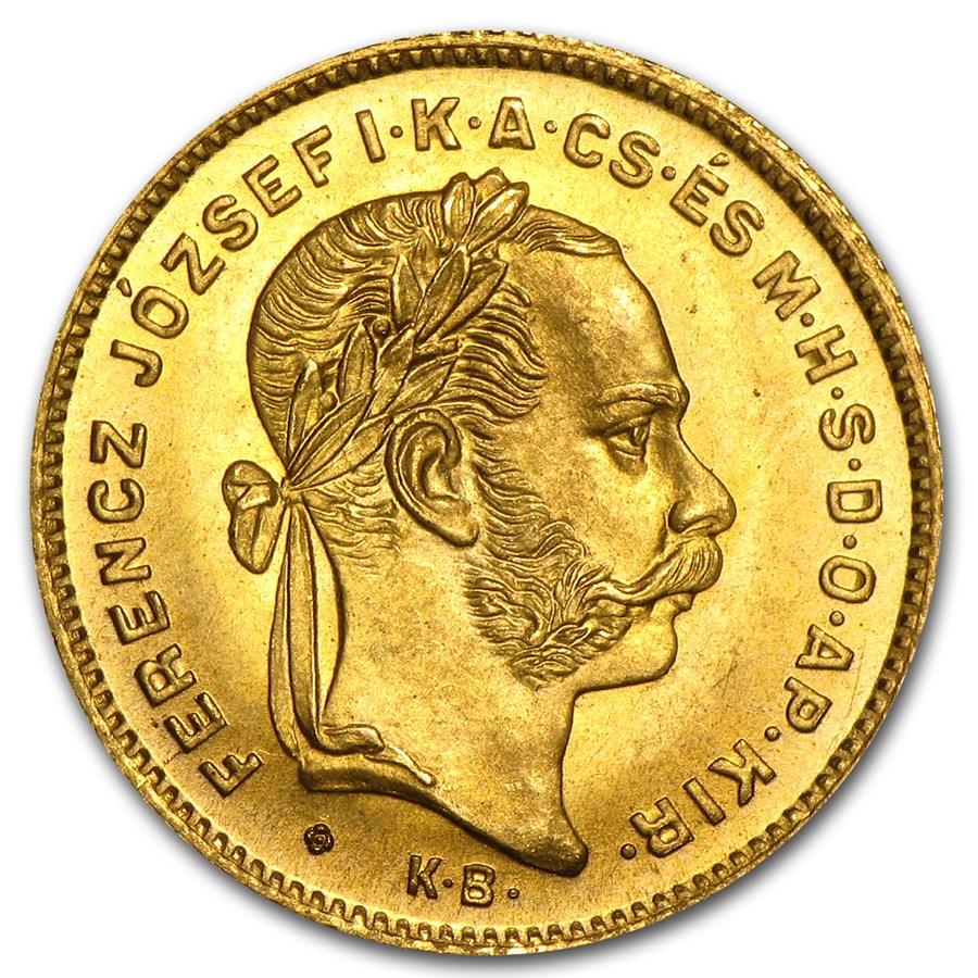 1870-KB Hungary Gold 10 Franc/4 Forint BU