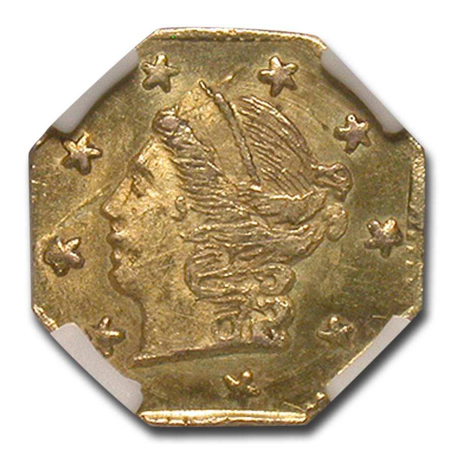 1870 Liberty Octagonal 25 Cent Gold Gold MS-64 NGC (BG-713)