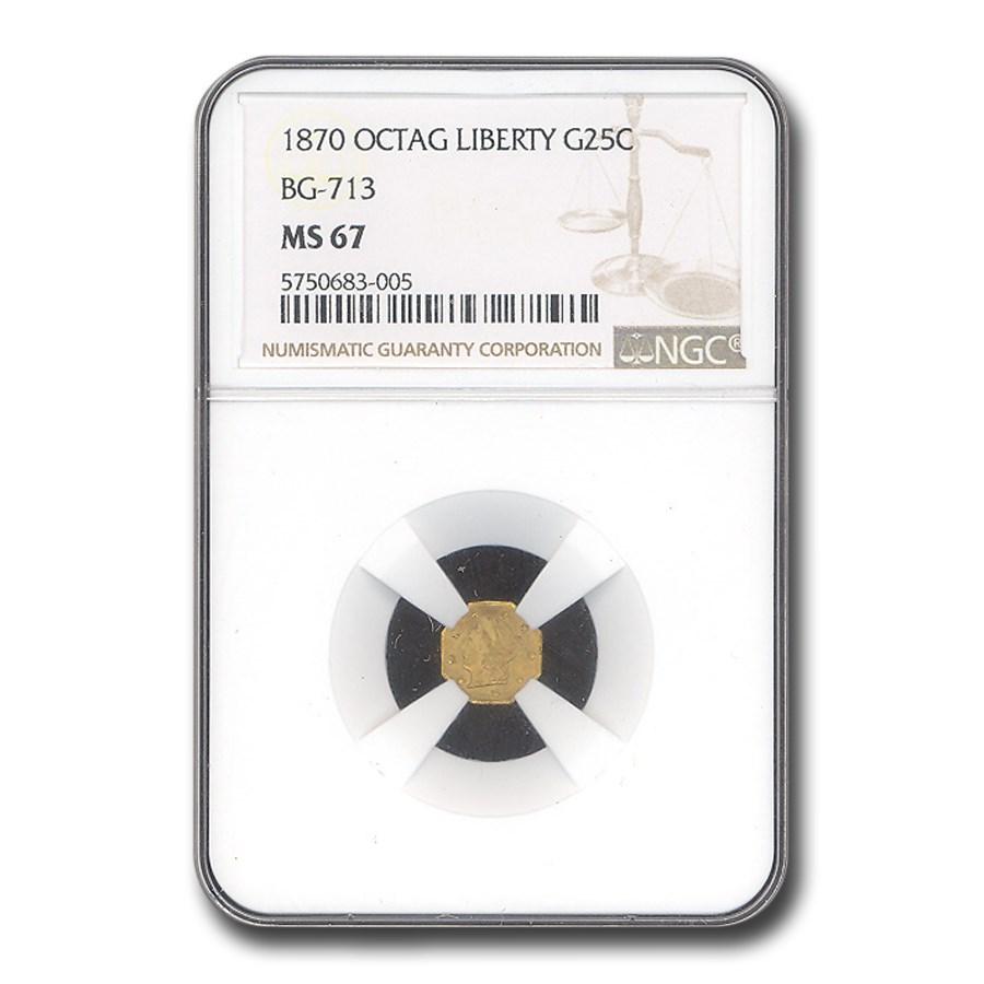 1870 Liberty Octagonal 25 Cent Gold Gold MS-67 NGC (BG-713)
