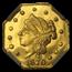1870 Liberty Octagonal 25 Cent Gold MS-64 PL NGC (BG-759)