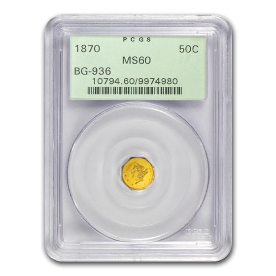 1870 Liberty Octagonal 50 Cent Gold MS-60 PCGS (BG-936)