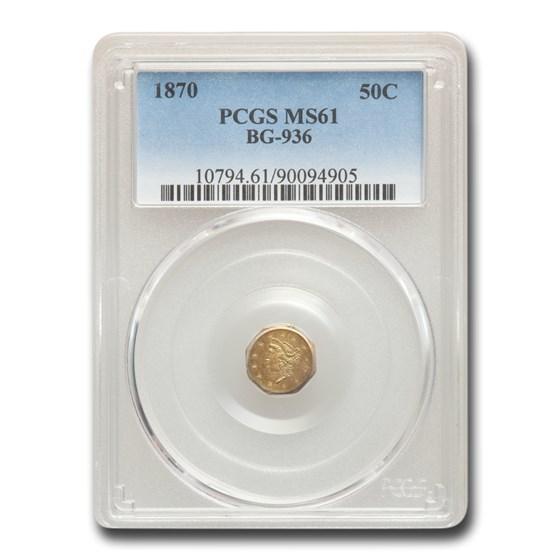 1870 Liberty Octagonal 50 Cent Gold MS-61 PCGS (BG-936)
