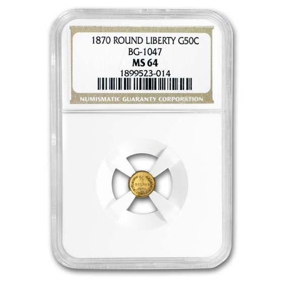 1870 Liberty Round 50 Cent Gold MS-64 NGC (BG-1047)