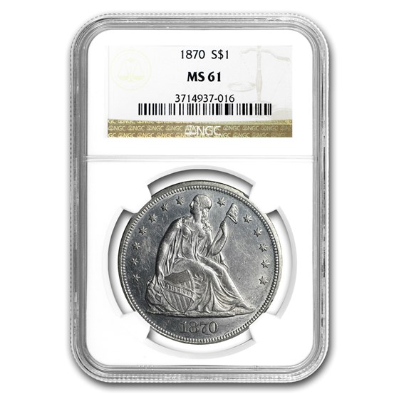 1870 Liberty Seated Dollar MS-61 NGC