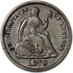 1870 Liberty Seated Half Dime XF
