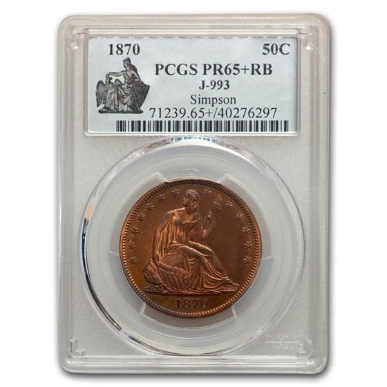 1870 Liberty Seated Half Dollar Pattern PR-65+ PCGS (R/B, J-993)