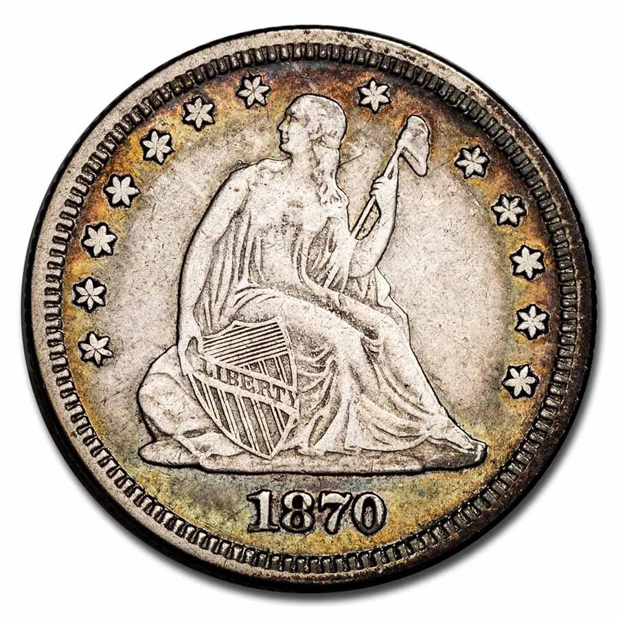 1870 Liberty Seated Quarter VF