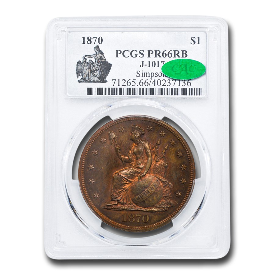 1870 Pattern Dollar PR-66 PCGS CAC (Red/Brown, J-1017)