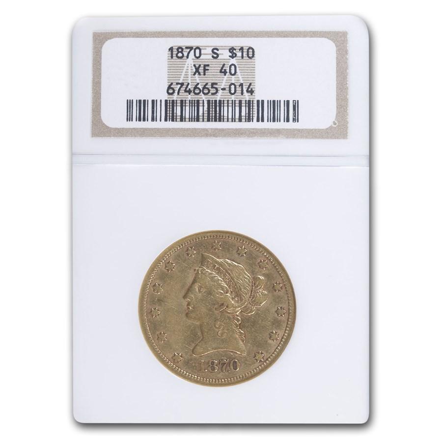 1870-S $10 Liberty Gold Eagle XF-40 NGC