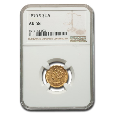 1870-S $2.50 Liberty Gold Quarter Eagle AU-58 NGC