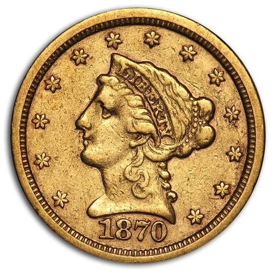 1870-S $2.50 Liberty Gold Quarter Eagle VF
