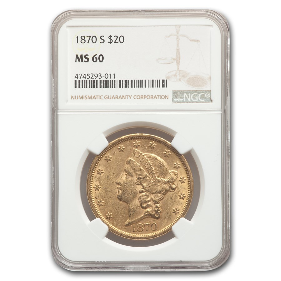1870-S $20 Liberty Gold Double Eagle MS-60 NGC