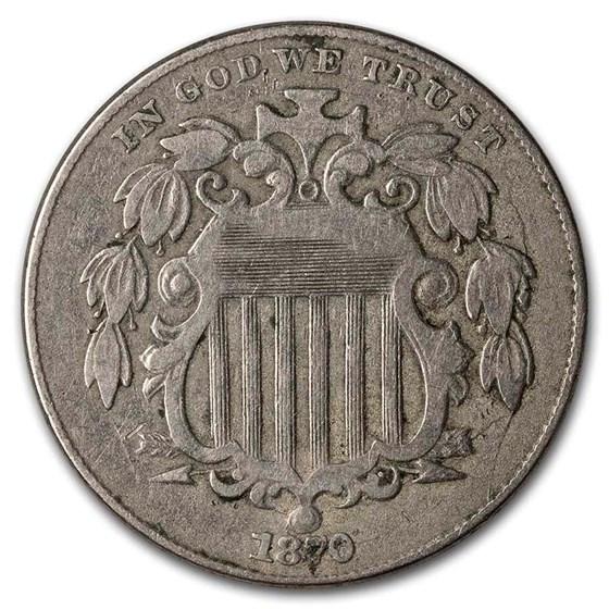1870 Shield Nickel Fine