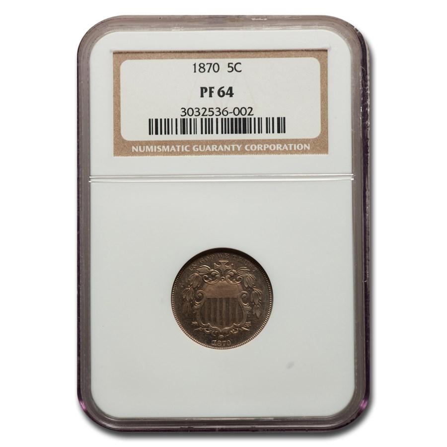 1870 Shield Nickel PF-64 NGC