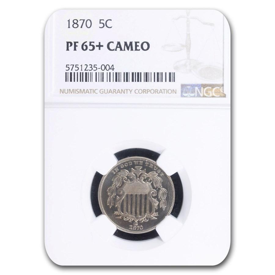 1870 Shield Nickel PF-65+ Cameo NGC