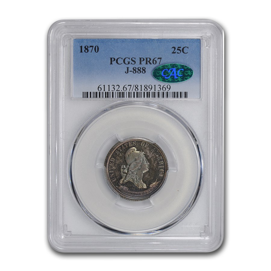 1870 Standard Silver Quarter Pattern PR-67 PCGS CAC (J-888)